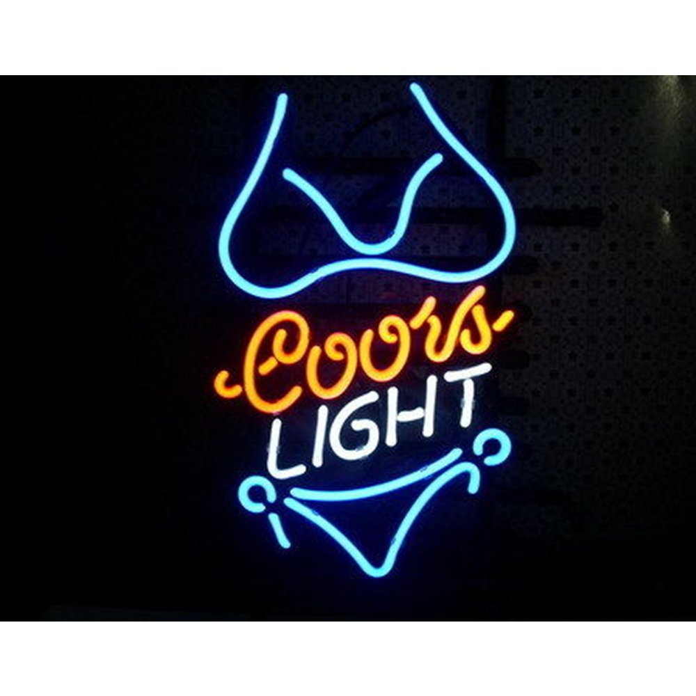 New Handcraft Bikini Girl Real Glass Beer Bar Dispaly Neon light Signs 17inx13in