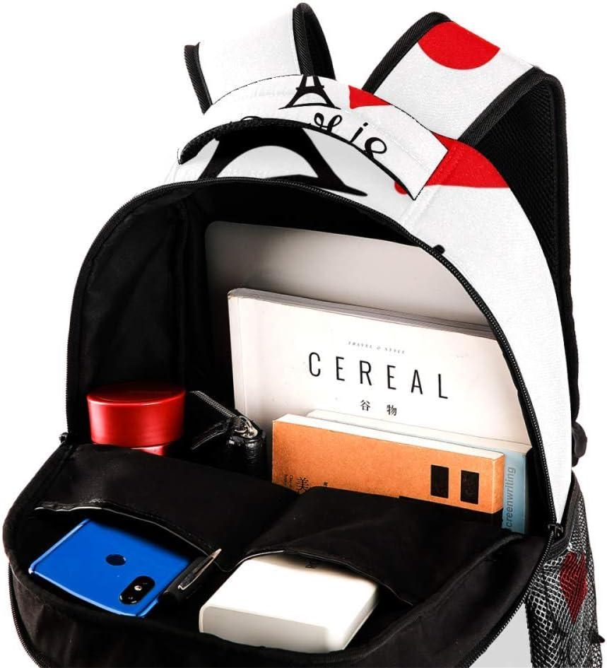 Paris Lettering Heart Love and Eiffel Tower Backpack Travel Bag Laptop Bag School Bag Bookbag Hiking Camping Rucksack