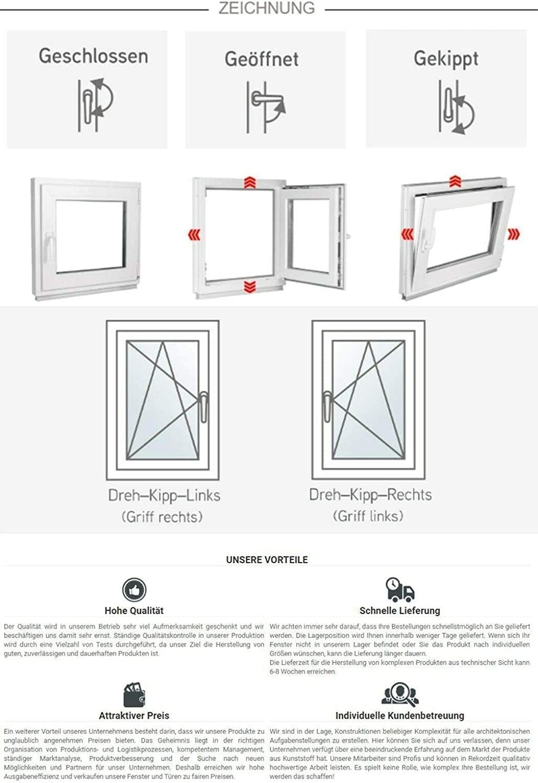 3 fach Verglasung BxH:60x55 cm DIN Links Fenster Kellerfenster Kunststofffenster wei/ß Dreh-Kipp ALLE GR/Ö/ßEN Premium