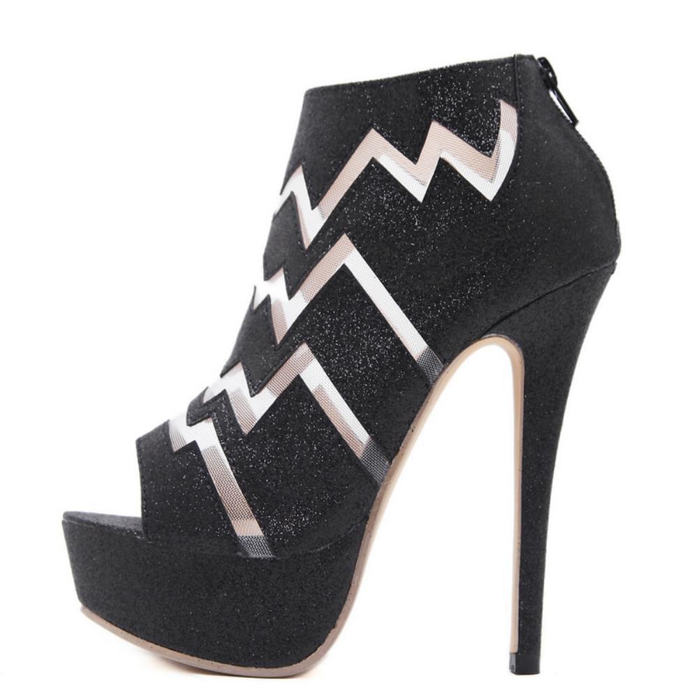 KUKIE Best 4U® Frauen Sandalen Frühling Sommer Premium PU Peep Peep Peep Toe Perle 14 cm High Heels 4 cm Plattform Sommer Schuhe Pumpen eb77a0