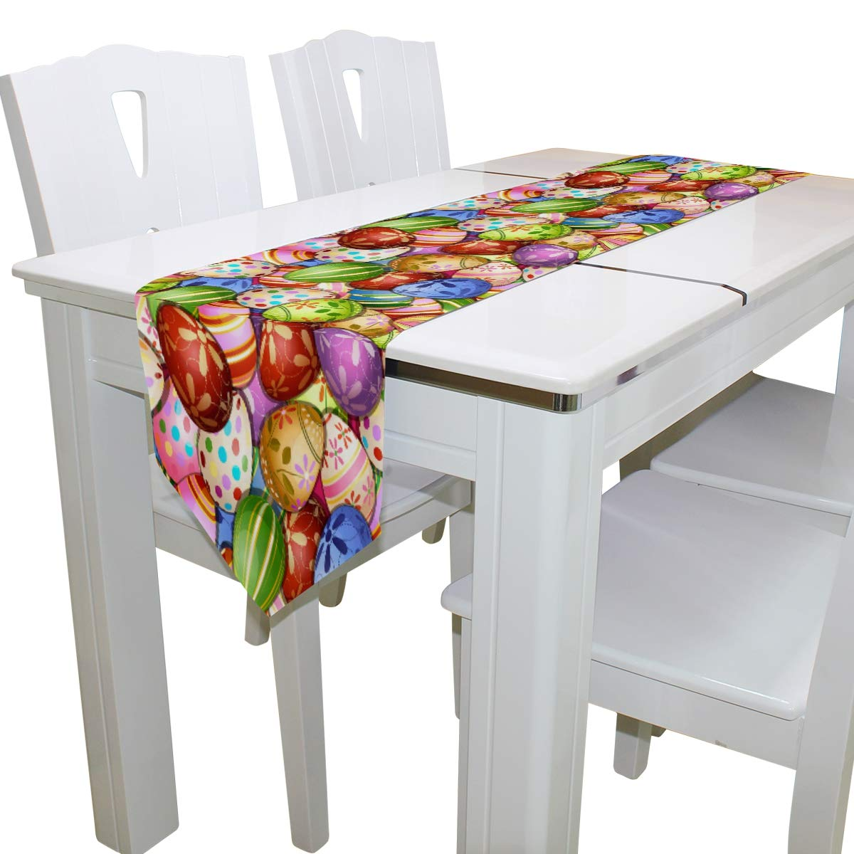 Spring Lucky Easter Bunny Egg Flower Long Table Runner 13x70 inch, Spring Holiday Butterfly Rectangle Table Runner Polyester Fabric Cloth Placemat for Office Kitchen Dining Wedding Party Home Decor
