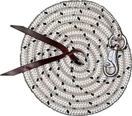 Amesbichler Suelo Trabajo Cuerda 3,2m| Suelo Cuerda (führ Cuerda con Bull Snap | Caballos Formación Punto | Western Rope para Horse Manship y Suelo Trabajo Blanco/Negro o Blanco/Rojo