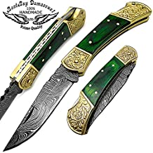 Beautifull Green Wood Brass Double Bloster With Scrimshaw Work 7.6'' Handmade Damascus Steel Folding Pocket Knife With Back Lock 100% Prime Quality