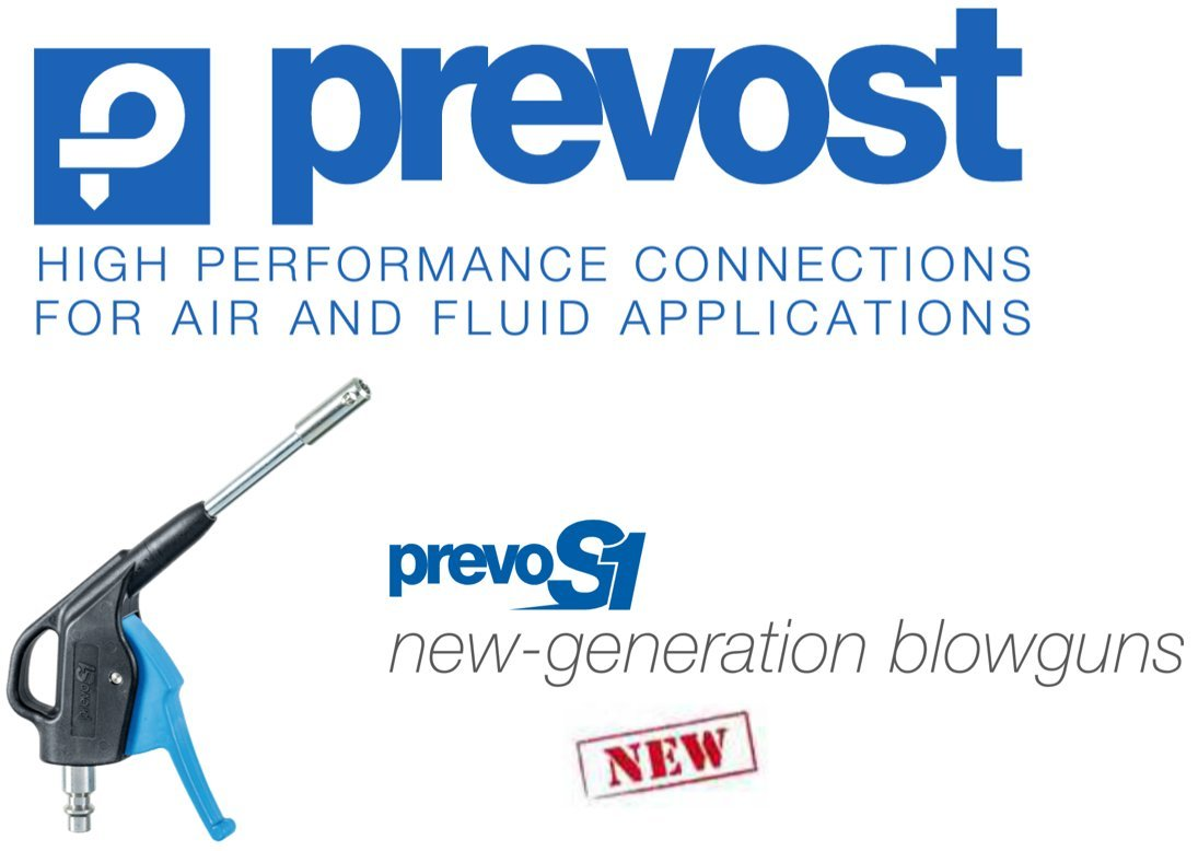 Prevost Prevo S1 (Metal Nozzle), 1/4'' Industrial Profile, Compressed Air, Safety Blow Gun/Nozzle - OSHA Compliant - High Flow - (Coupler NOT Included)