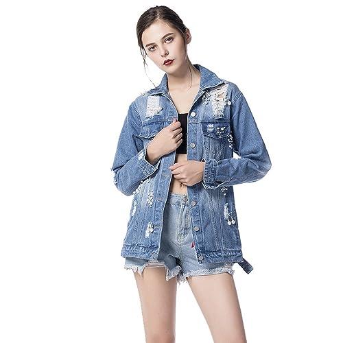 YAANCUN Mujer Diseño De Lavado De Agua Corto Chaquetas Jacket De Mezclilla Abrigo Denim Jackets