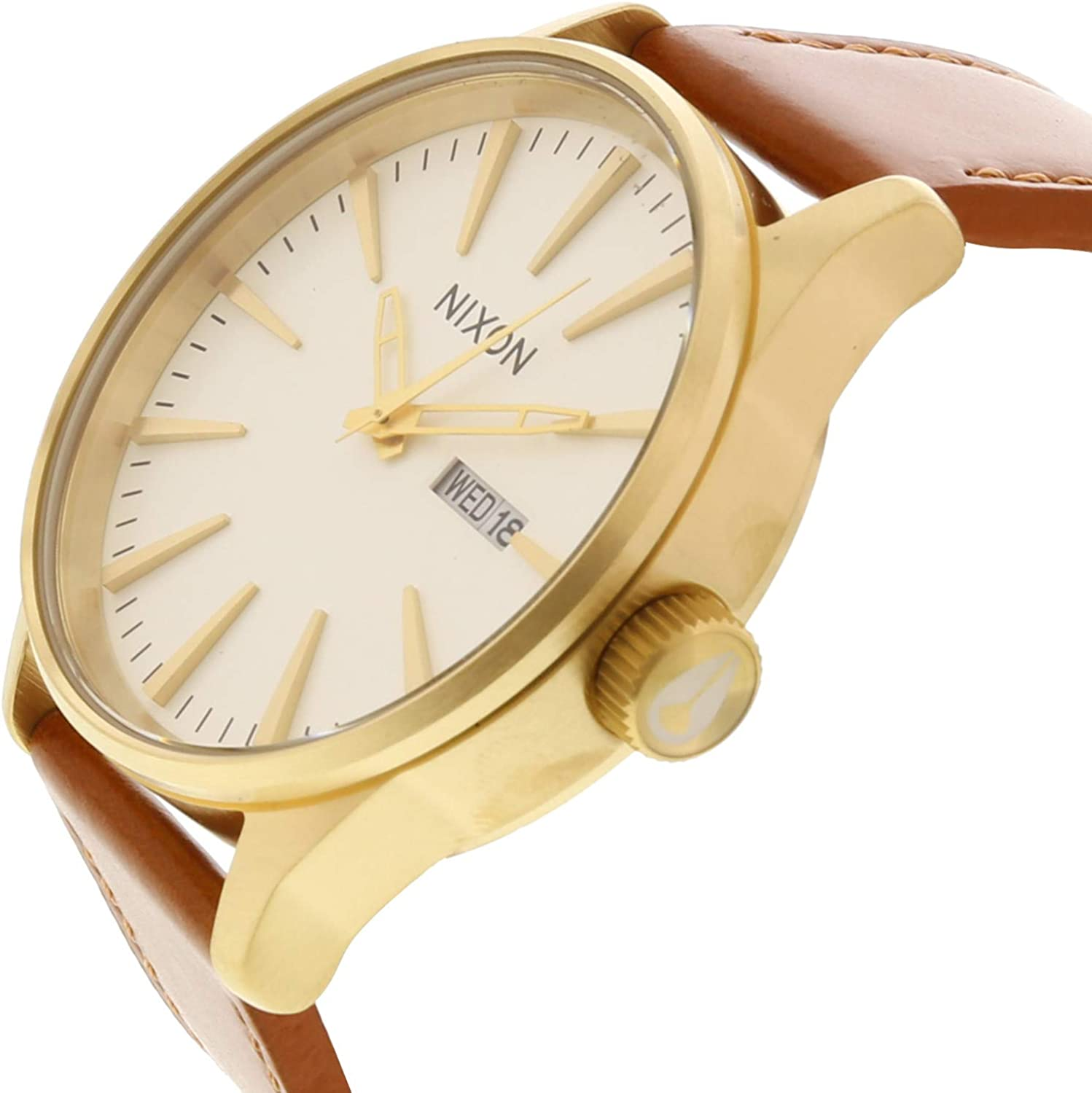 Nixon Men's A105 Sentry 42mm Stainless Steel Leather Quartz Movement Watch Gold/White/Saddle