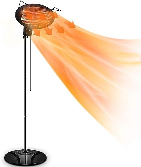 Amazon Com Patio Heater 1500w Outdoor Electric Heater 3 Adjustable Power Level Outdoor Infrared Heater With Tip Over Overheat Protection Freestanding Weatherproof For Patio Courtyard Garage Use Garden Outdoor