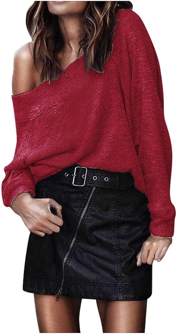 WINLISTING Mujeres Moda Camisa Color sólido Hombro Mangas Largas Tops Otoño e Invierno Gran tamaño Suelta Sudadera Blusa Casual Camiseta Pullover: Amazon.es: Ropa y accesorios