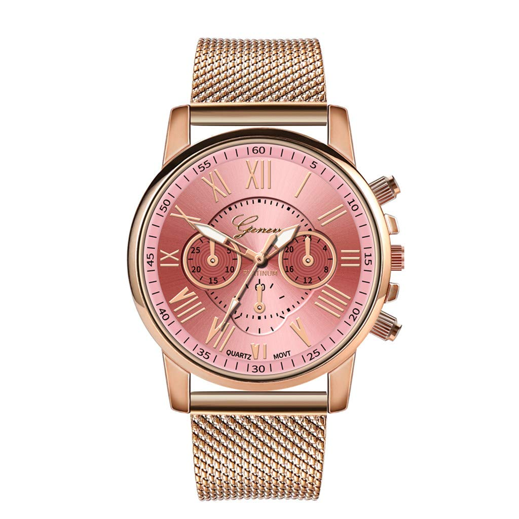 Pocciol Fashion Military Stainless Steel Quartz Watch Womens Casual Watch Luxury Analog Wristwatch (Pink)
