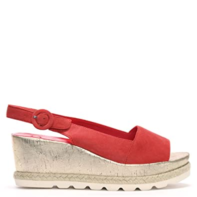 ac65a359b2873 Hogl Red Suede Low Cork Wedge Sandals 41 Orange Suede: Amazon.co.uk ...
