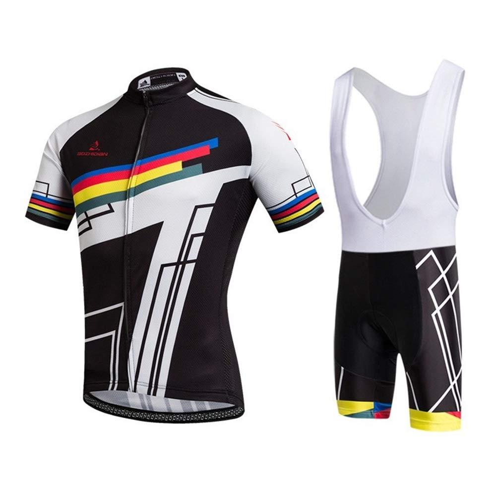 TONGDAUR Trikots Fahrradtrikot Sommer Kurzarm Atmungsaktiv Träger Trikot Wandern Laufbekleidung (Color : Black, Size : XXXL)