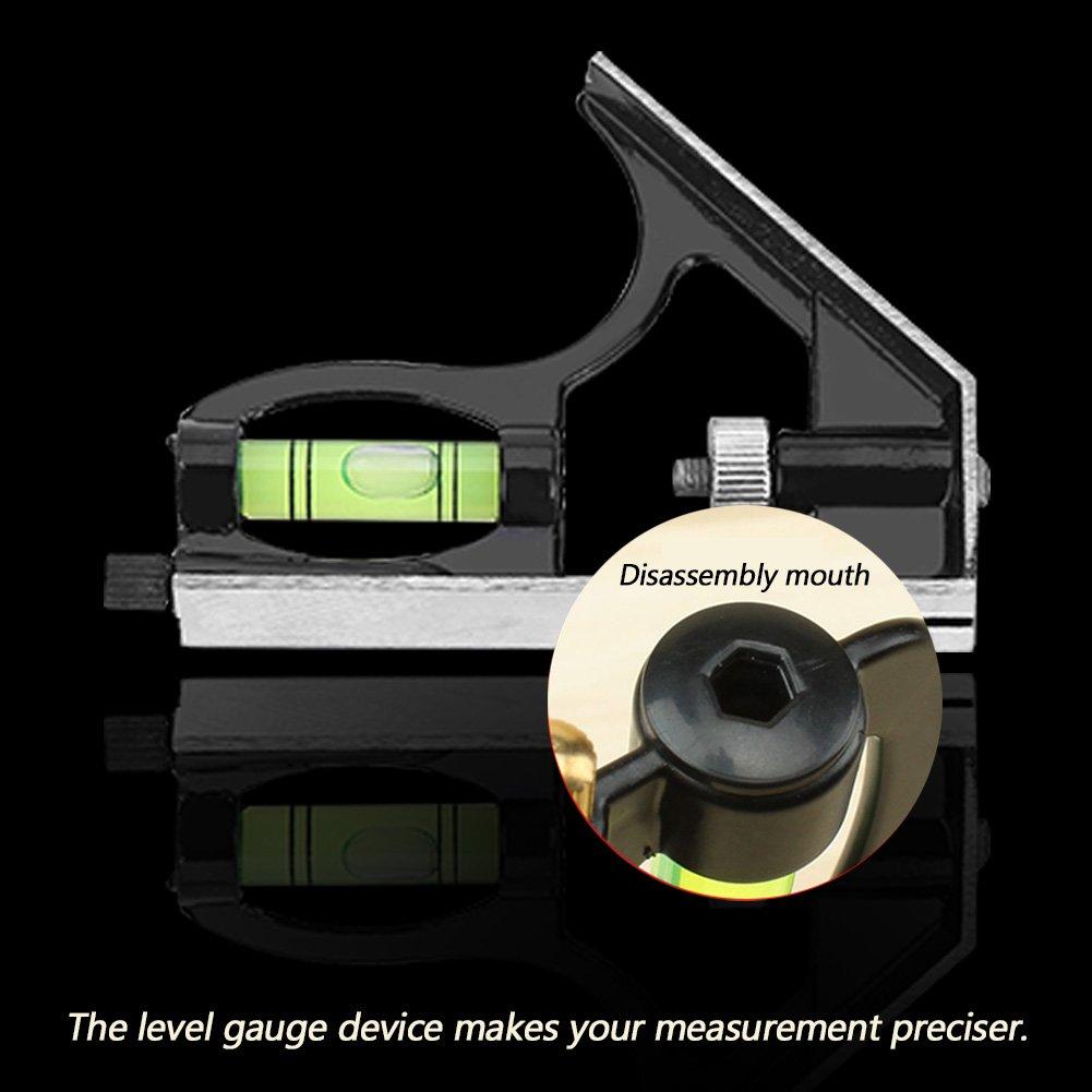 45 /° Neigung 300mm 12 Zoll Asixx Winkel Lineal Kombinationswinkellineal aus Edelstahl und Zinklegierung Einstellbar Winkel 45 /° Winkel