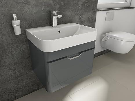 Aqua Bagno Bad-Set Piccolo Gäste-WC-Set Gästebad Badmöbel Unterschrank  Keramik Waschbecken 57cm