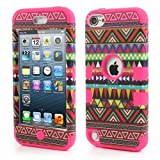 JUJEO 3-In-1 Tribal Tribe Pattern PC and Silicone Hybrid Cover for iPod Touch 5, Rose