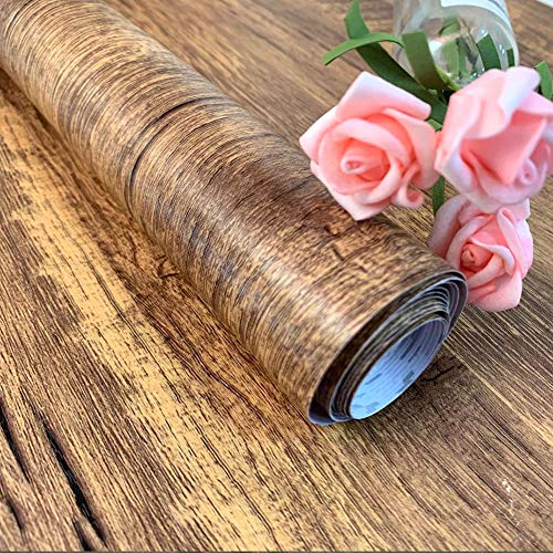 (Wood Contact Paper Wood Peel and Stick Wallpaper Removable Wallpaper Self Adhesive Distressed Wood Wallpaper Shelf Drawer Liner Faux Wood Grain Contact Paper Wall Covering Film Vinyl Roll 17.7