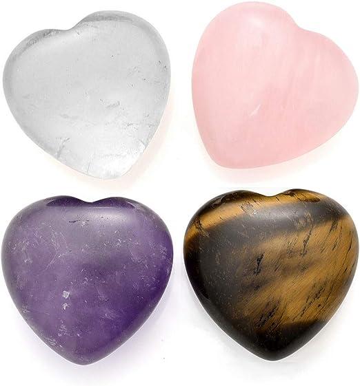Natural Quartz Heart Shaped Crystal Gem Palm Stone Reiki Love Healing Gemstone