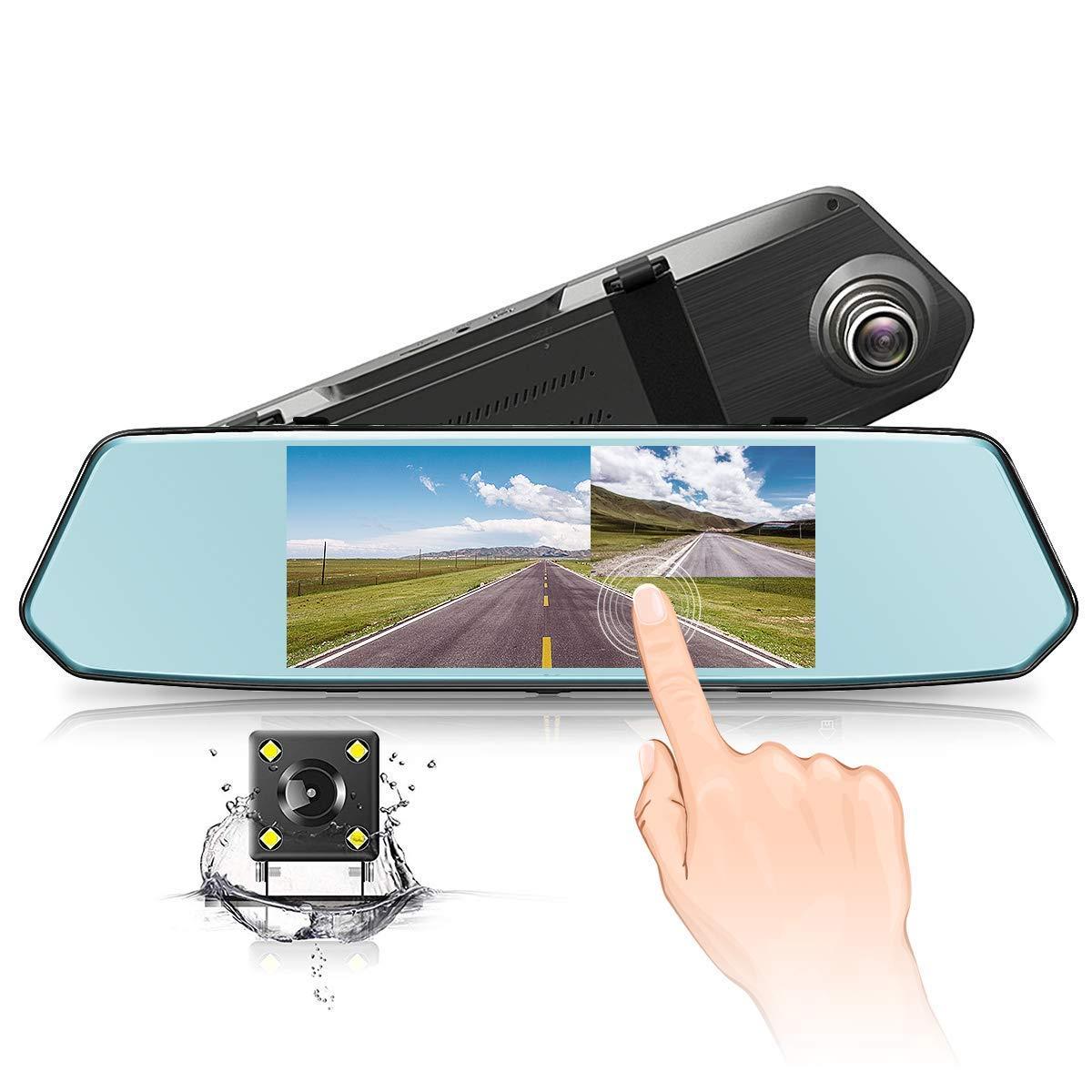 Cá mara de Coche Grabadora Vigilancia ,Dashcam 1080P Full HD Sistemas de Ví deo Lente Doble Delantera y Trasera G-Sensor Detecció n de Movimiento170° Á ngulo , Pantalla Tá ctil,Impermeable Pantalla Táctil CHYU