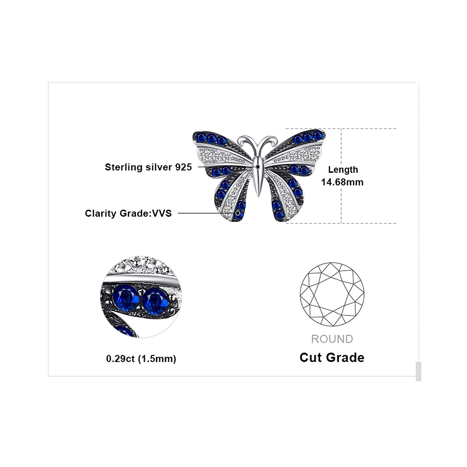 MMC Silver Necklaces Butterfly 0.4ct Blue Spinel Fashion Charm Womens Pendants