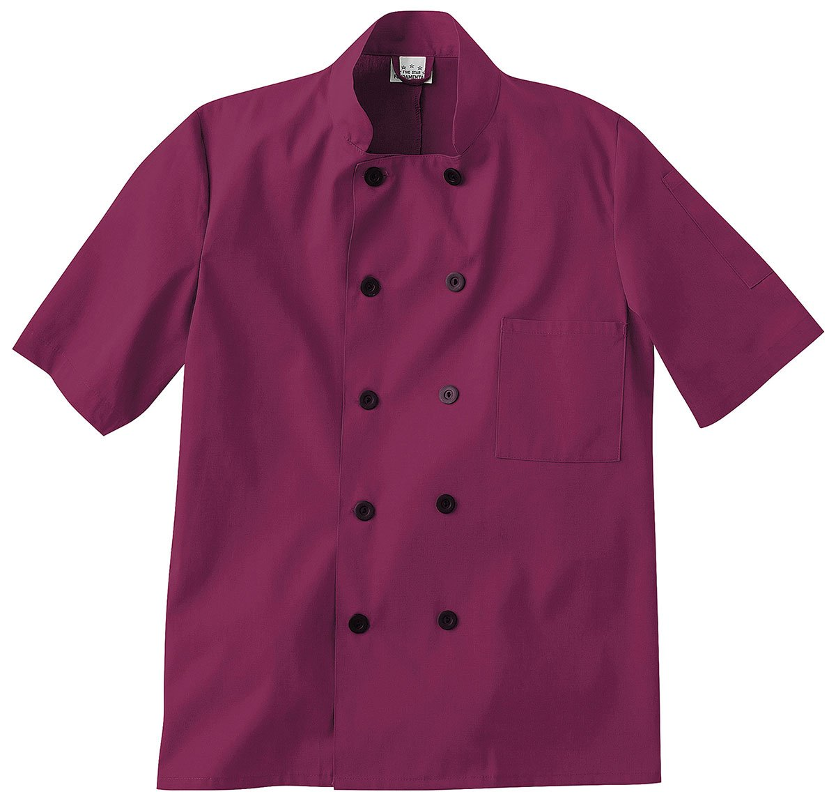 Five Star Chef Apparel Unisex Short Sleeve Coat (Wine, X-Small)
