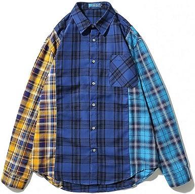 Hip Hop Camisas a Cuadros para Hombre de Vestir de Manga Larga Chaqueta Camisa de Franela Camisa Streetwear Blue L: Amazon.es: Ropa y accesorios