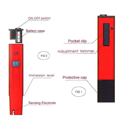 Zogin PH Medidor Digital Portátil con electrodo, ATC (0 ~ 50°C), Rango de medición pH 0 ~ 14 para Piscinas, Acuarios, Alimentos, Bebidas, Industria de la ...