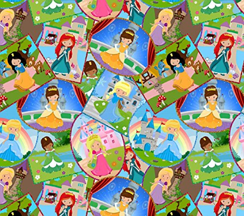 [Euro Oeko-Tex Knit Princess Fairy Cartoon Design Fabric By the Yard, 92% Cotton, 8% Lycra, 60 Inches Wide, 4 Way Stretch, Medium Weight (2] (Fairy Princess Costume Diy)