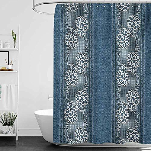 StarsART Shower Curtains Beach Scenes Floral,Blue Jeans Background with White Flower Motifs Pattern Denim Themed Digital Print,Blue White,W69 x L90,Shower Curtain for Women (Blue Jean Teddy Curtain)