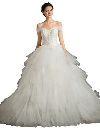 Fanciest Womens Off Shoulder Ruffles Organza Lace Wedding Dresses Ball Gowns White: Amazon.co.uk: Clothing