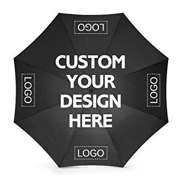 d16ac382c Amazon.com: Custom Umbrellas Design Your Own Add Logo or Text Rainy/Sunny  Foldable (Black): nictime