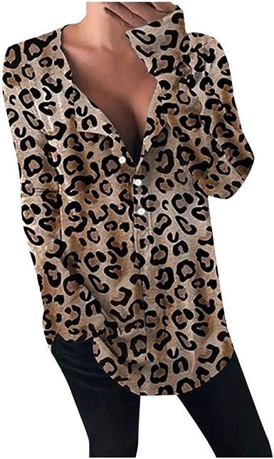 VJGOAL Top de Manga Larga para Mujer Blusa con Estampado de Leopardo de Moda Informal Botones con Cuello en V Profundos Sexy Camisetas Sueltas: Amazon.es: Ropa y accesorios