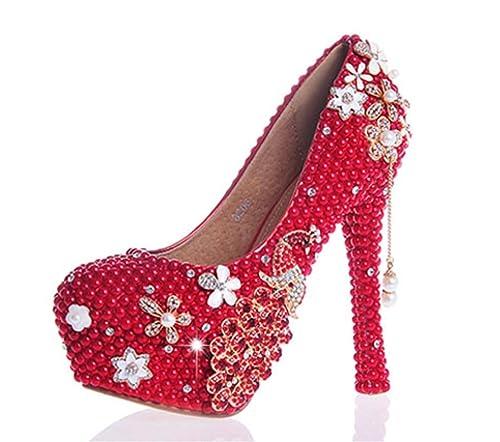 Kitzen Womens Crystal Rhinestones Pearl Bride Bridesmaids Court Shoes  Wedding Party Evening Platforms High Heel 0ff61fca19