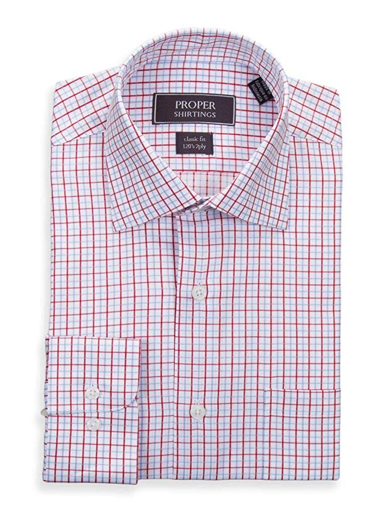 Mens Classic Fit White with Red /& Light Blue Check 120s 2PLY Cotton Dress Shirt