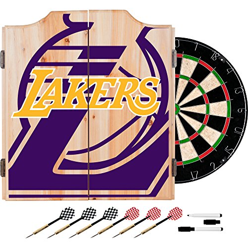 Trademark Gameroom NBA7010-LAL2 NBA Dart Cabinet Set with Darts & Board - Fade - Los Angeles Lakers by Trademark Global