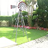 USA Premium Store 8Ft Tall Windmill Ornamental Wind Wheel Silver Garden Weather Vane Gray And Red