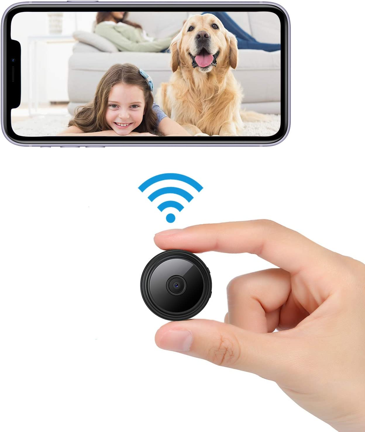 1080P Hidden Camera for Home Security Spy Camera WiFi Mini Camera Wireless with Audio Nanny Cam with Cell Phone App Night Vision Movement Detection Video Recording Remote View