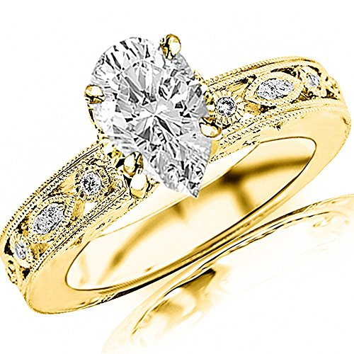 0.75 Ctw 14K Yellow Gold Antique/Vintage Bezel Set Designer Diamond Engagement Ring With Milgrain Pear Shape (0.5 Ct D Color SI2 Clarity Center Stone)