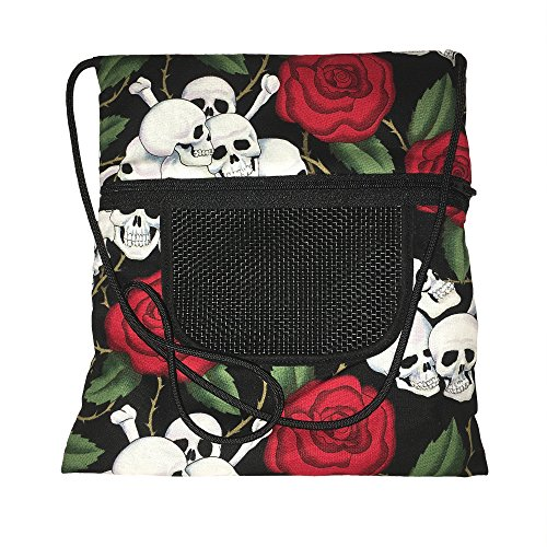 The Kozy Kritter Skull and Roses Sugar Glider Seamless Bonding Pouch or Hedgehog, Rat, Mice Small Pet