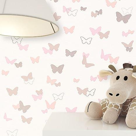NEWROOM Kindertapete Beige Schmetterlinge Kinder Vliestapete Rosa Vlies Kindertapete Kinderzimmer Babytapete Babyzimmer Niedl