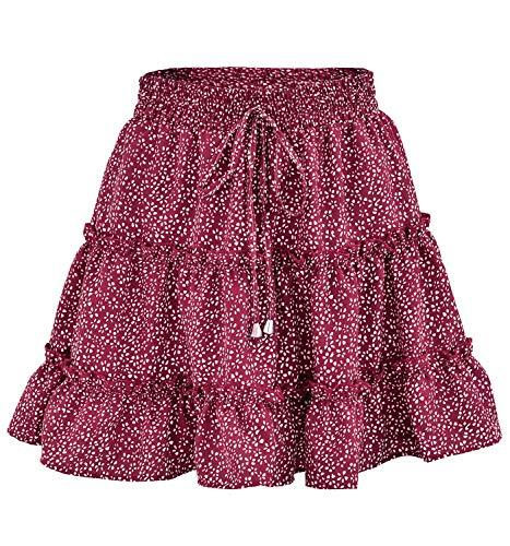 Women's Floral High Waist Drawstring Ruffle Flared Boho A-Line Pleated Skater Mini Skirt (Red, L) ()