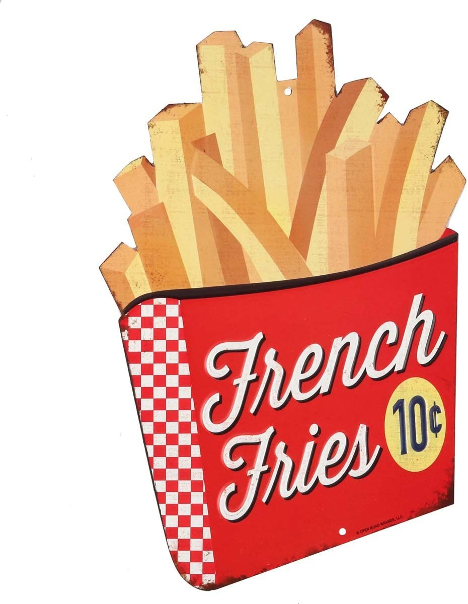 Open Road Brands Vintage French Fries Embossed Tin Metal Wall Art - an Officially Licensed Product Great Addition to Add What You Love to Your Home/Garage Decor