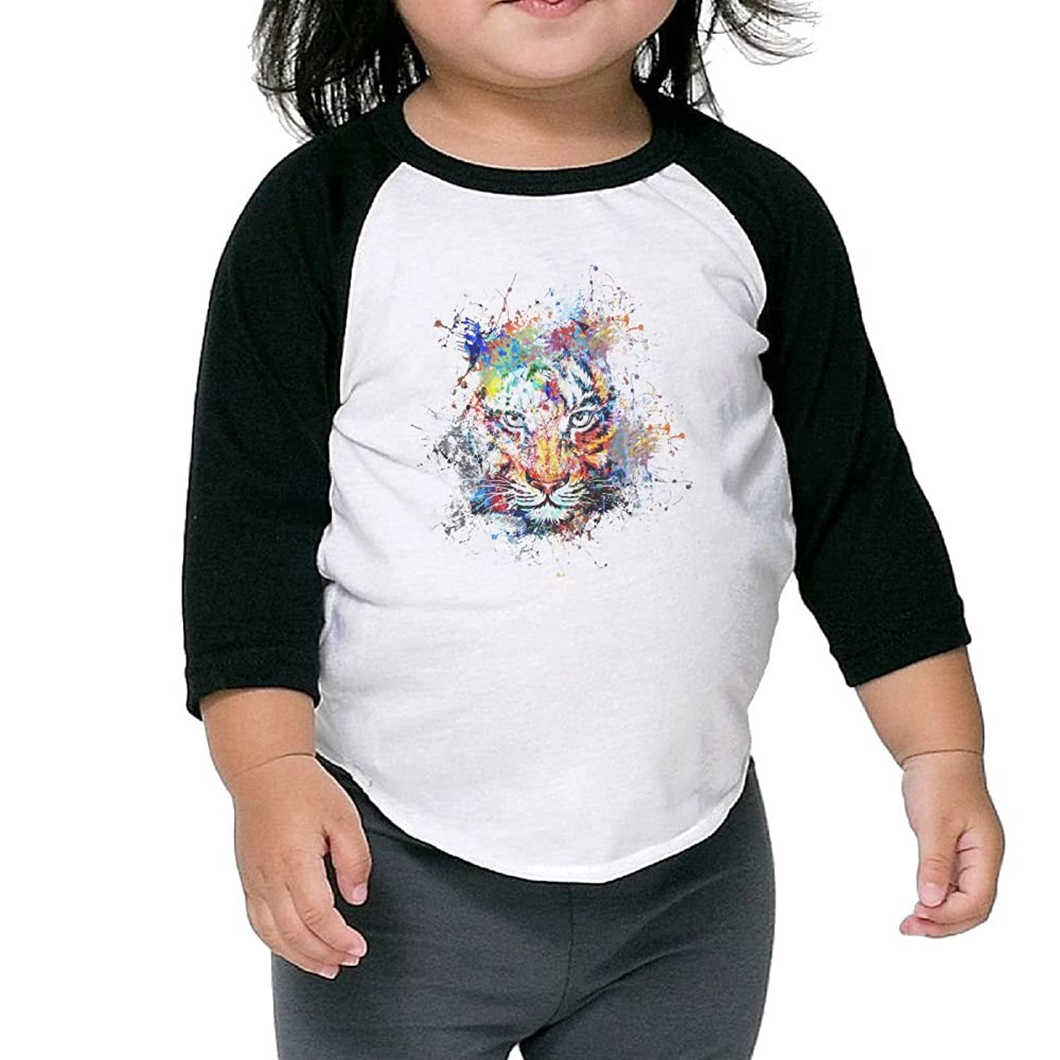 Cheap CHENLY Unisex Kid's Sleeves Soft Watercolor Tiger colorful Cotton 3/4 Sleeves T-Shirt For Girl