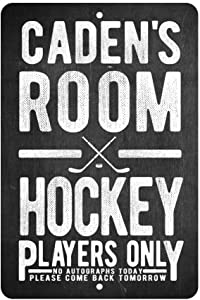 Personalized Hockey Players Only - No Autographs Metal Room Sign - Aluminum Hockey Wall Decor