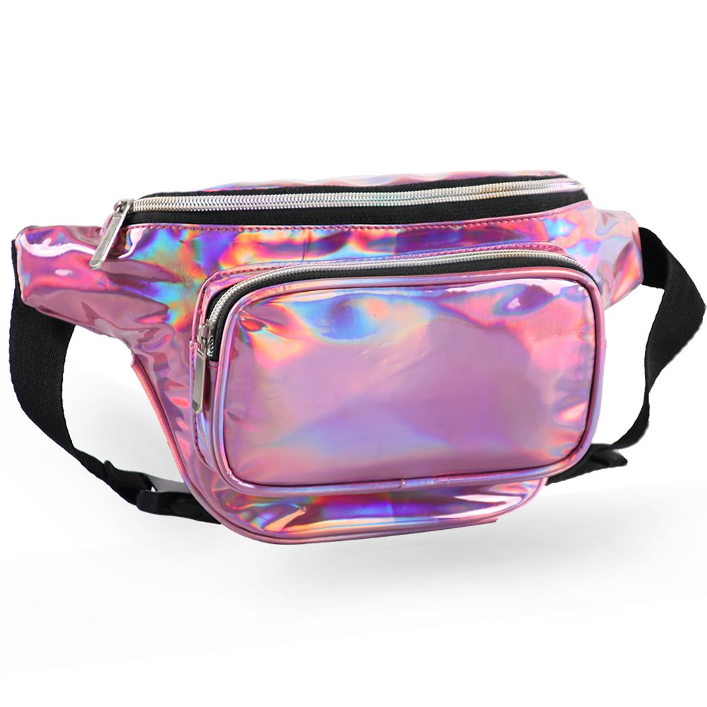MUM'S MEMORY Metallic Hologram Fanny Pack - Outdoor Sport Waist Pack for Running, Hiking, Traveling for Women and Men (Pink) by MUM'S MEMORY