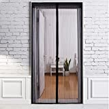 GYMAN Magnetic Screen Door with Heavy Duty Mesh Curtain and Full Frame Velcro Fits Door Size up to 35x82