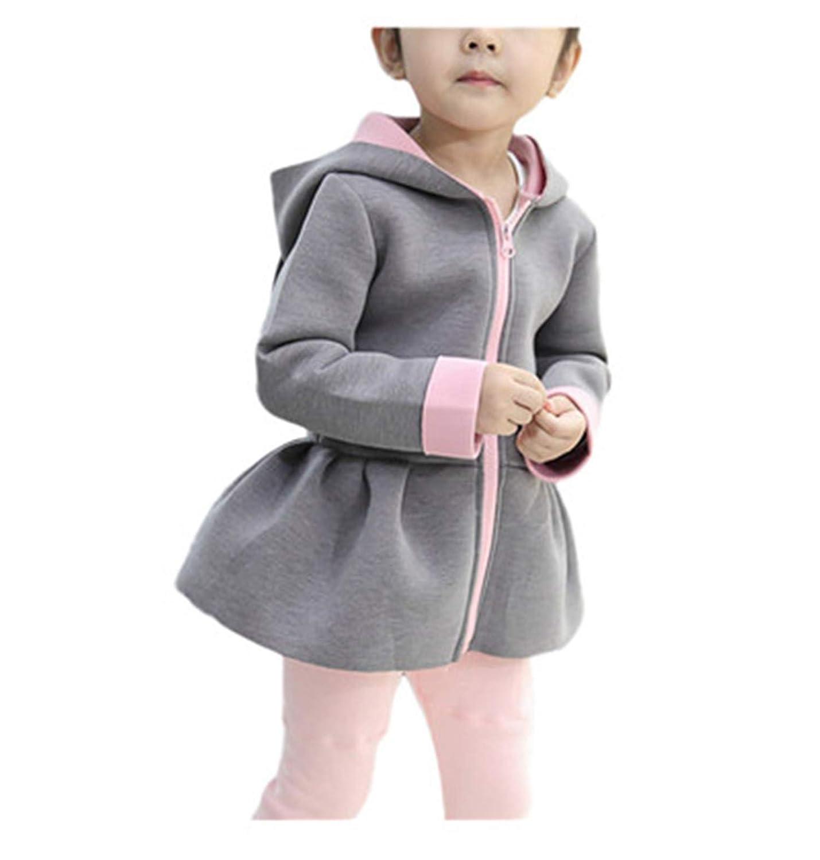 Cute Kids Sweatshirts Outwear Hooded Baby Girl Winter Warm Coat Rabbit Waistcoat
