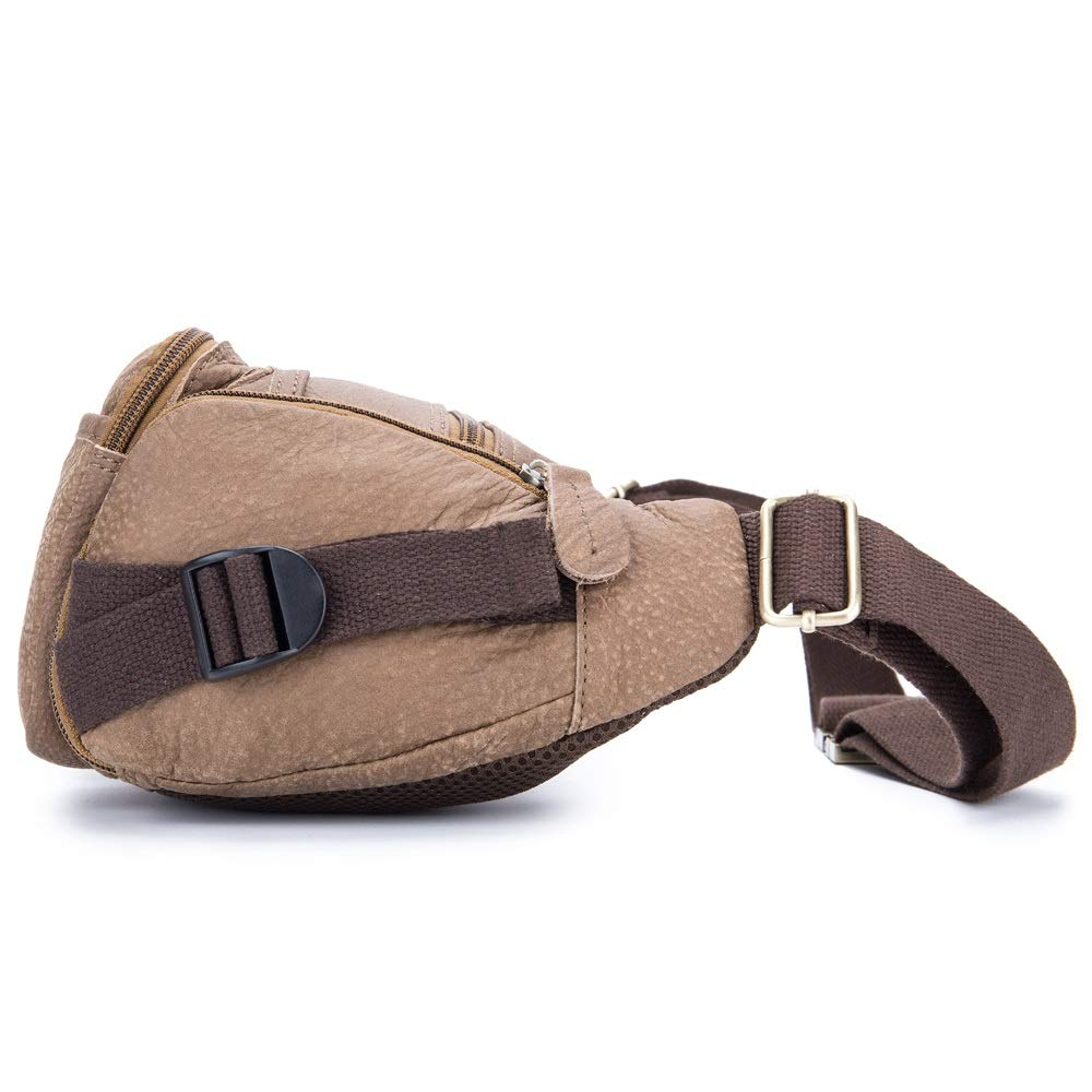 MUMUWU Mens Leather Bag Riding Sports First Layer Leather Belt Multi-Functional Multi-Layer Waterproof Pockets Mobile Phone Bag Color : Brown, Size : M