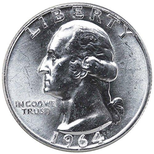 1964 D U.S. Washington Quarter 90% Silver Coin, 1/4 Brilliant Uncirculated Mint State Condition