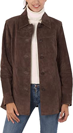 BGSD Womens Anna Suede Leather Car Coat Regular Plus /& Short