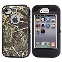 MOONCASE iPhone 4S Case, [Realtree Camo Series] 3 Layers Heavy Duty Defender Hybrid Soft TPU +PC Bumper Triple Shockproof Drop Resistance Protective Case Cover for Apple iPhone 4 4SS -Black Grass