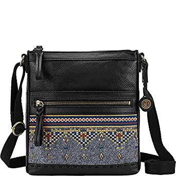 The Sak Pax Swing Pack Crossbody Bag (Black Embroidered Felt)